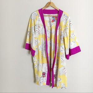 Anthropologie Lilka Yellow Floral Print Robe
